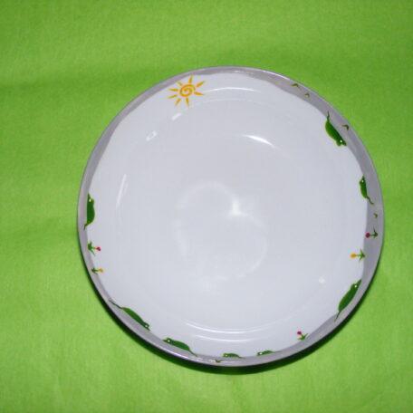 assiette calotte porcelaine blanche décor souris vertes