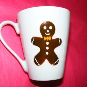 Mug conique en porcelaine peinte à la main, décor bonhomme en pain d'épices