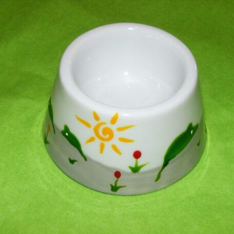 coauetier cône en porcelaine blanche peinte à la main, décor souris vertes