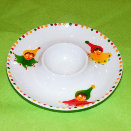 Coquetier assiette en porcelaine peinte à la main, décor lutins circus jaune vert rouge