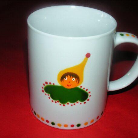 Mug classique en porcelaine peinte à la main, décor lutins circus jaune vert rouge