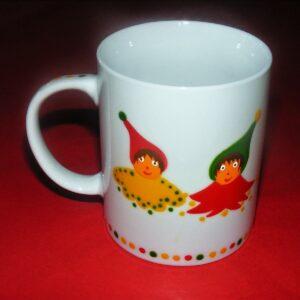 Verso mug classique en porcelaine peinte à la main, décor lutins circus jaune vert rouge