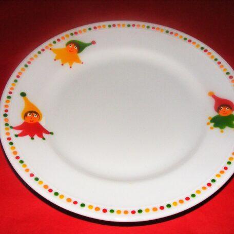 Petite assiette ronde en porcelaine peinte à la main, décor lutins circus en vert jaune et rouge