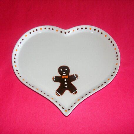 Petit plat cœur en porcelaine peinte à la main, décor bonhomme en pain d'épices