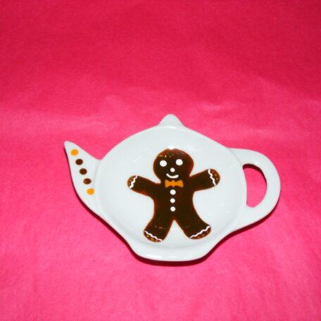 Coupelle repose sachet de thé en porcelaine peinte à la main, décor bonhomme en pein d'épices