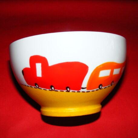Bol décor p'tit train rouge et orange en porcelaine peinte à la main