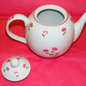 """théière ouverte porcelaine collection """"Roses roses"""""""