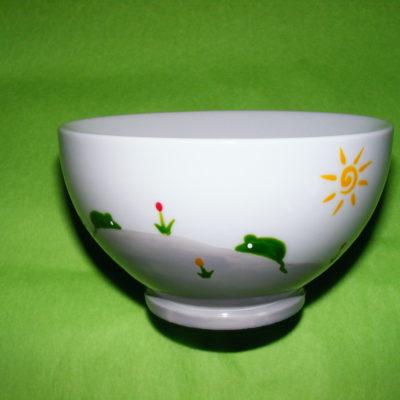recto bol porcelaine blanche décor souris vertes