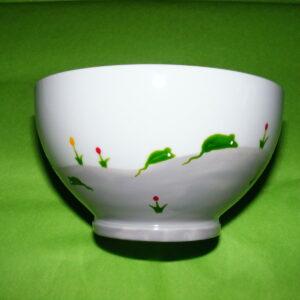 verso bol porcelaine blanche décor souris vertes