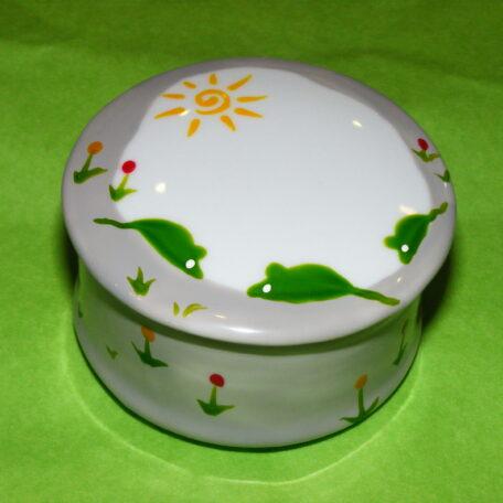 boîte ronde en porcelaine blanche peinte à la main, décor souris vertes