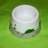 coquetier cône verso en porcelaine blanche peinte à la main, décor souris vertes