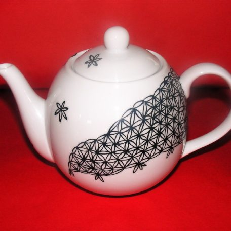 Théière boule en porcelaine peinte à la main, décor dentelle noire