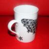 Verso tasse à thé en porcelaine peinte à la main, décor dentelle noire