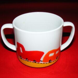 Verre à anses décor p'tit train rouge et orange en porcelaine peinte à la main