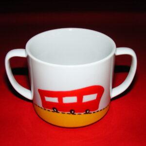Verre à anses verso décor p'tit train rouge et orange en porcelaine peinte à la main