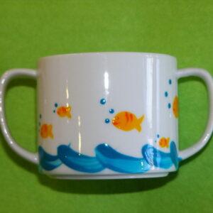 Verre à anses verso décor poissons bulles porcelaine peinte à la main