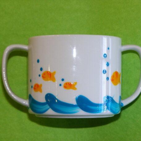 Verre à anses recto décor poissons bulles porcelaine peinte à la main
