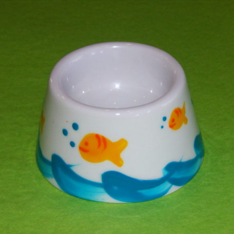 Coquetier cône décor poissons bulles porcelaine peinte à la main