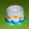 Coquetier cône verso décor poissons bulles porcelaine peinte à la main
