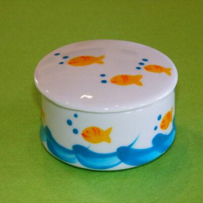 Boîte ronde décor poissons bulles porcelaine peinte à la main