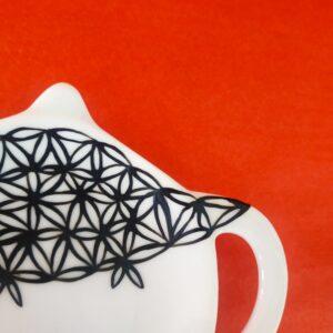Détail décor coupelle pour sachet de thé