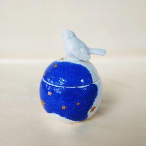 Boîte boule oiseau en céramique