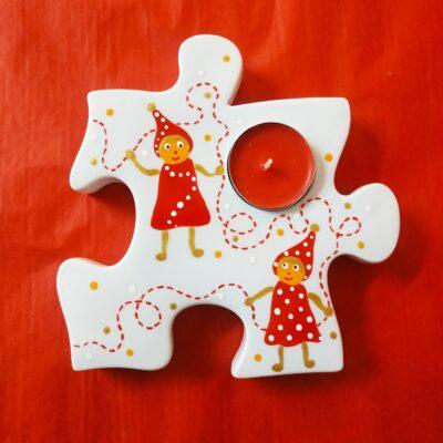 Bougeoir en forme de pièce de puzzle
