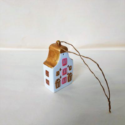 Arrière maisonnette de Noël à suspendre toit arrondi or vermeil,