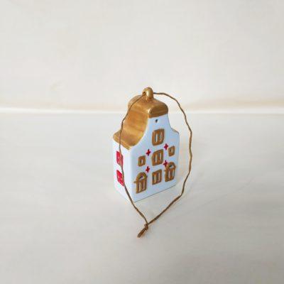 Arrière maisonnette de Noël à suspendre toit arrondi or