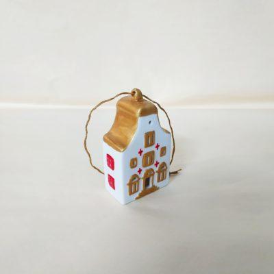 Maisonnette de Noël à suspendre toit arrondi or