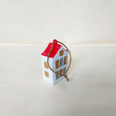 Arrière maisonnette de Noël à suspendre toit rouge