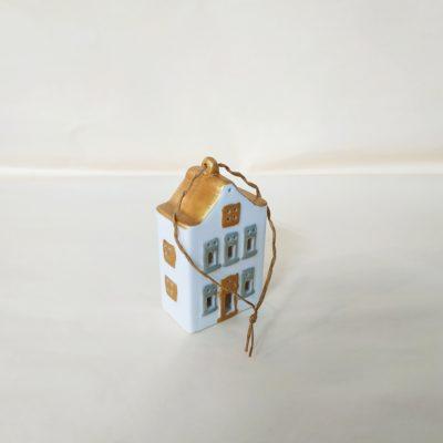 Maisonnette de Noël à suspendre toit or