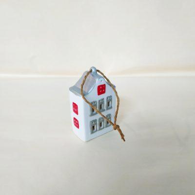Arrière maisonnette de Noël à suspendre toit argent