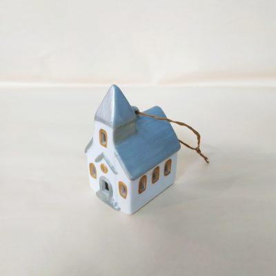 Maisonnette de Noël à suspendre église toit argent